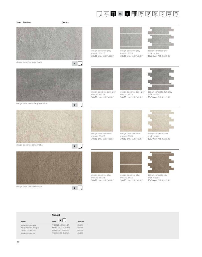 سرامیک طوسی رستیک 60در120  Design Concrete DarkGray   مات   برجسته   پرسلان