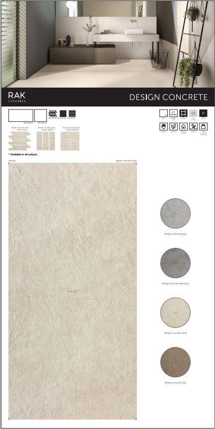 design concrete rotated - سرامیک Design Concrete Clay | قهوه ای | رستیک | برجسته | 60در120 | مات | کارخانه راک سرامیک